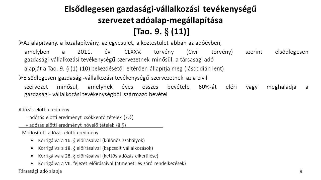 Elsődlegesen gazdasági-vállalkozási tevékenységű szervezet adóalap-megállapítása [Tao. 9. § (11)]